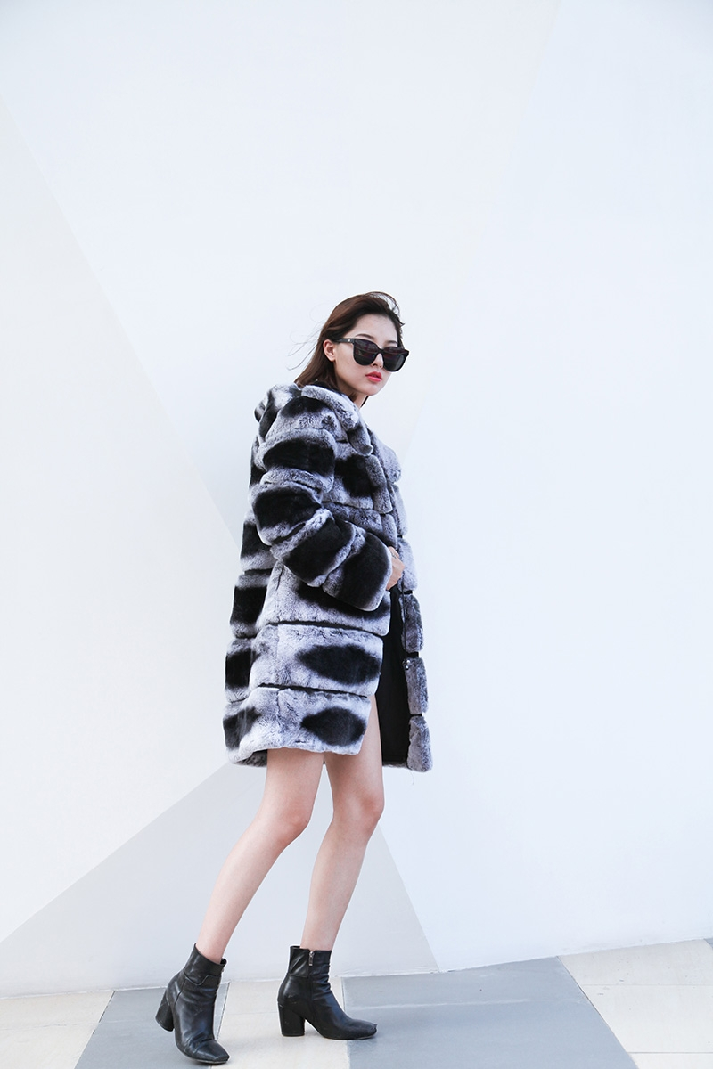 Hooded Rex Rabbit Fur Coat with Chinchilla Look 255 Details 9
