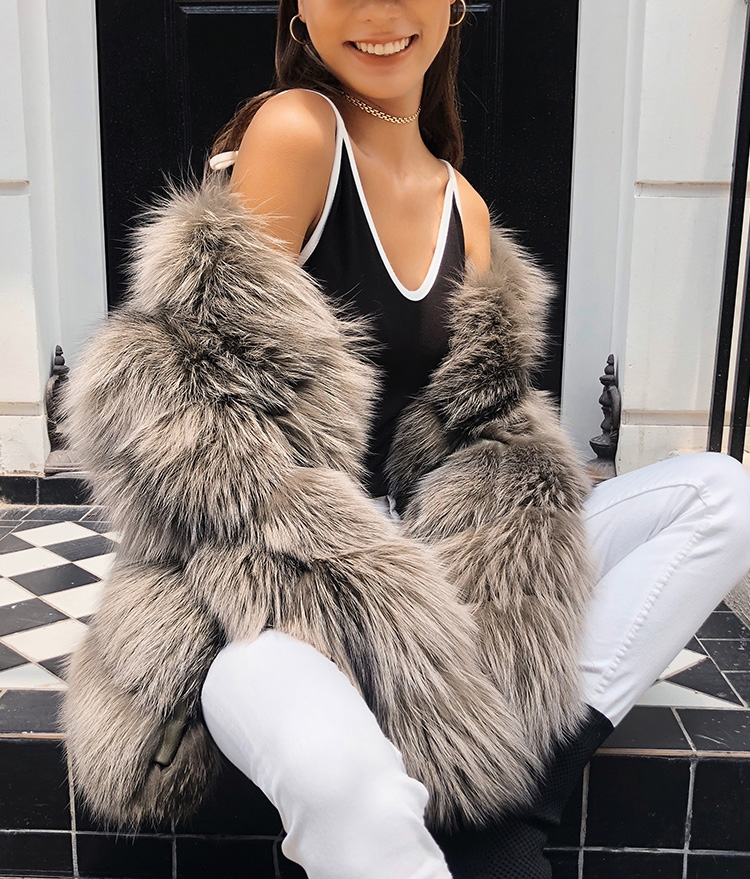 Cropped Silver Fox Fur Jacket 270 Details 3