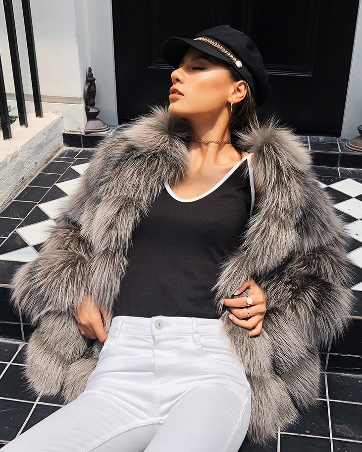 Cropped Silver Fox Fur Jacket 270 Details 4