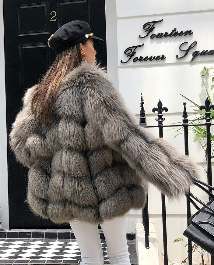 Cropped Silver Fox Fur Jacket 270 Details 6