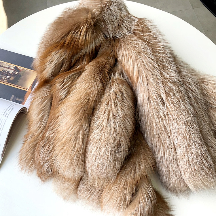 Cropped Chocolate Fox Fur Jacket 271 Details 1