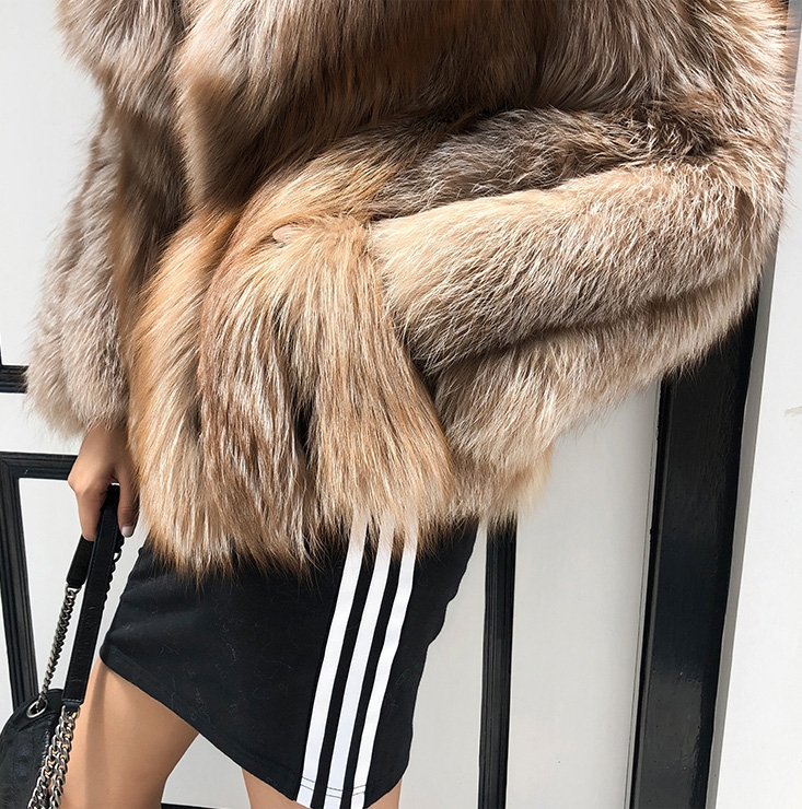 Cropped Chocolate Fox Fur Jacket 271 Details 5
