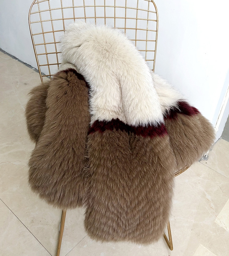 Multicolored Fox Fur Jacket 274 Details 2