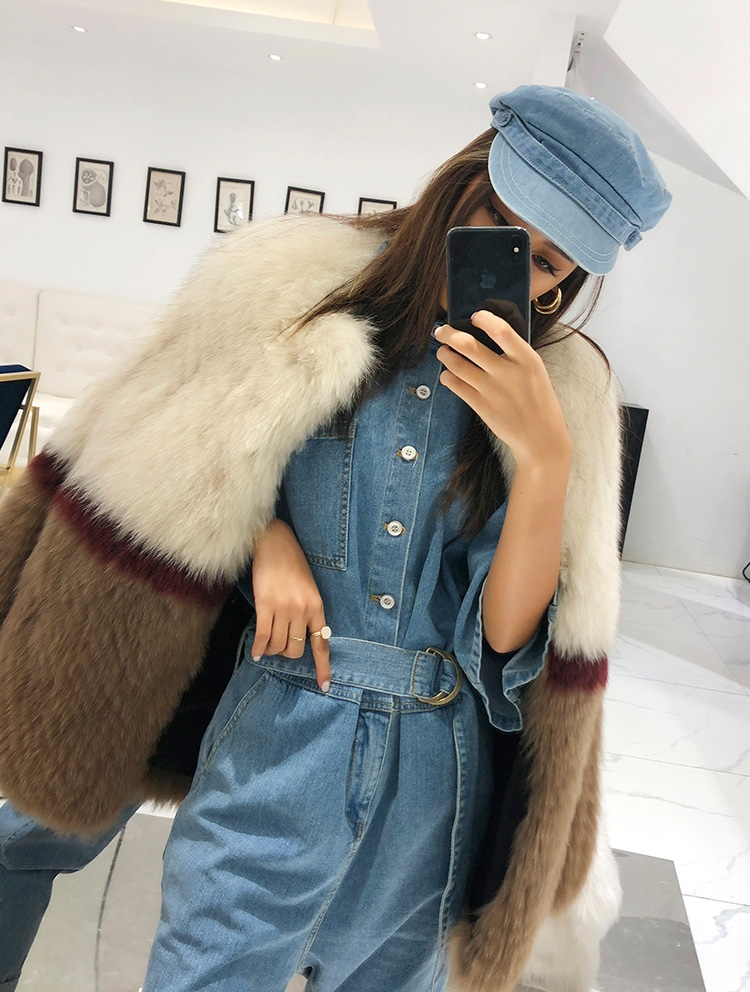 Multicolored Fox Fur Jacket 274 Details 6