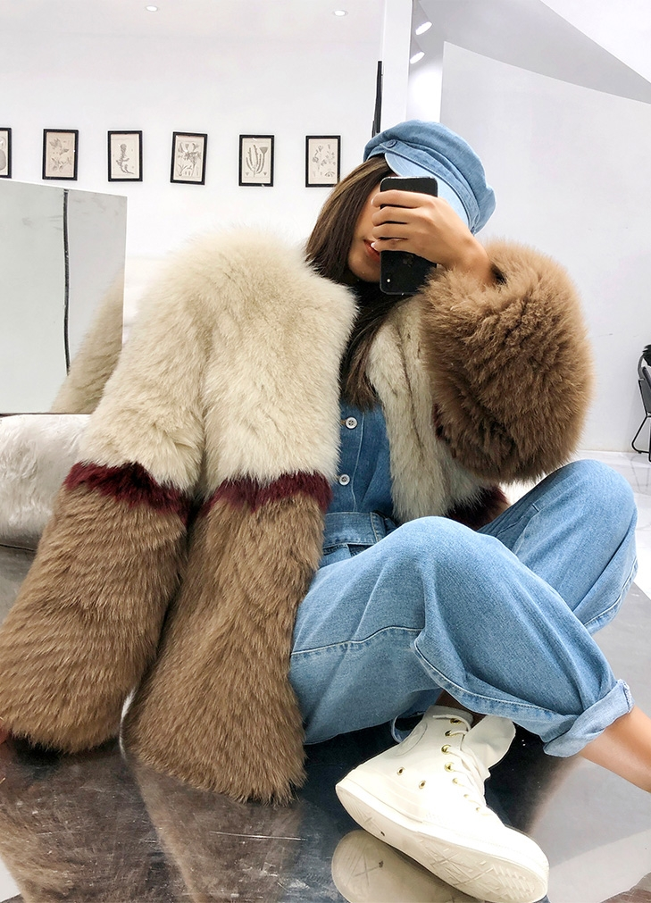 Multicolored Fox Fur Jacket 274 Details 7