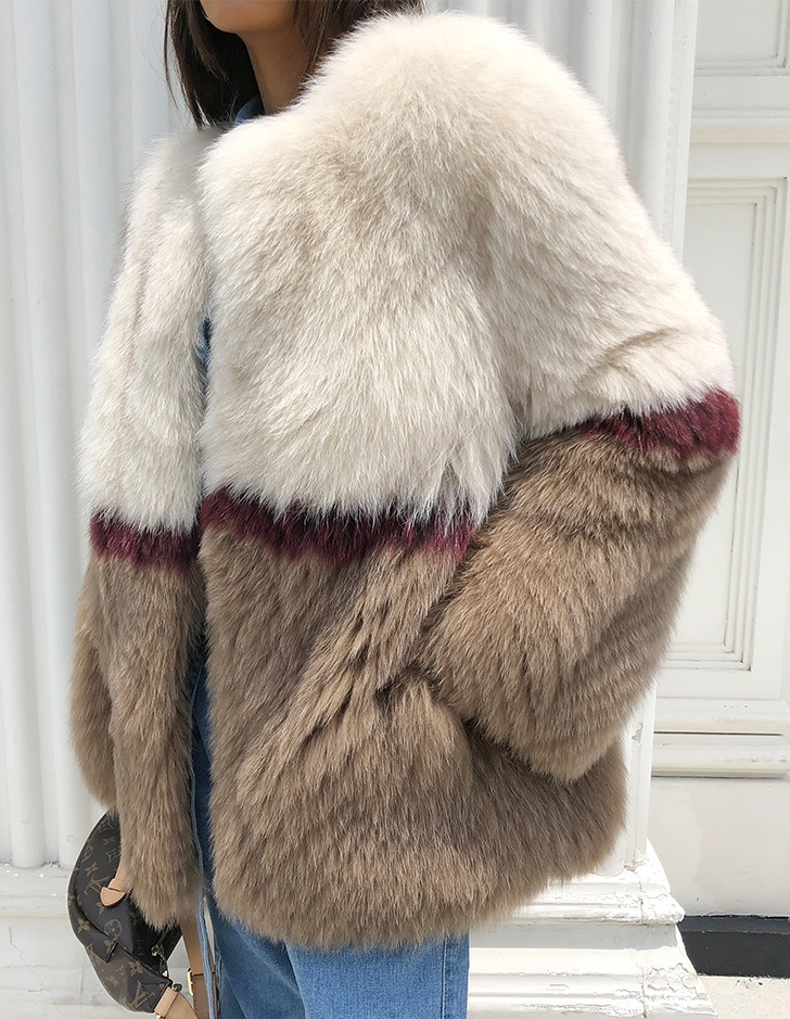 Multicolored Fox Fur Jacket 274 Details 8