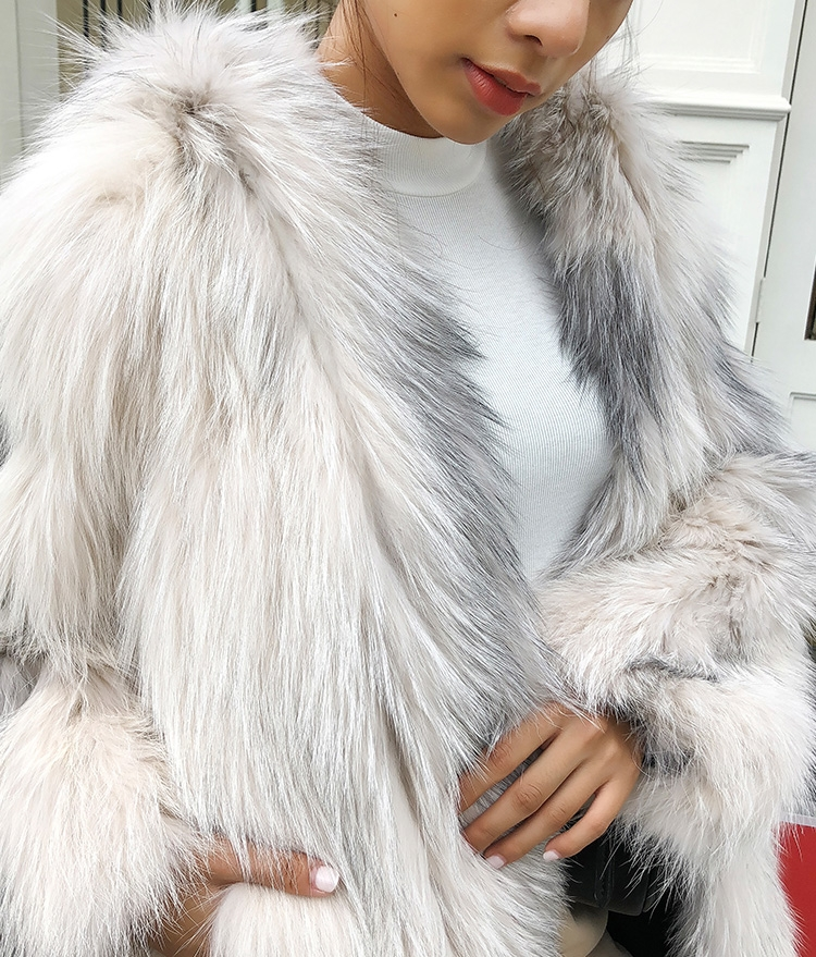 Hooded Knitted Fox Fur Jacket 276 Details 9