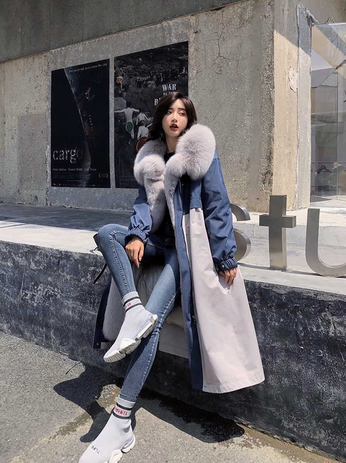 Fox Fur Trim Long Parka Trench Coat with Down-Filled Liner 280-3