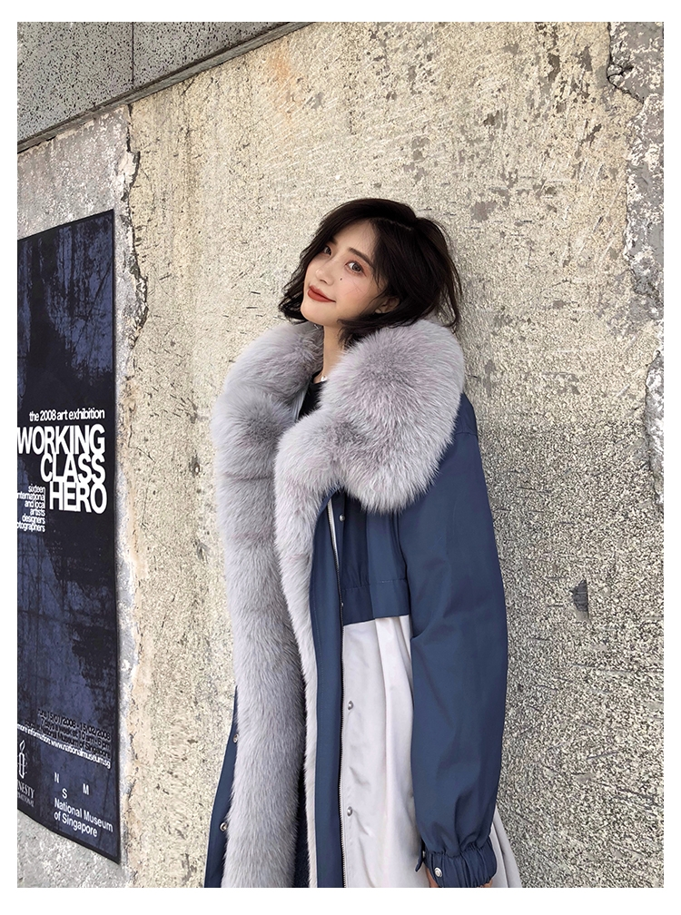 Fox Fur Trim Long Parka Trench Coat with Down-Filled Liner 280-4