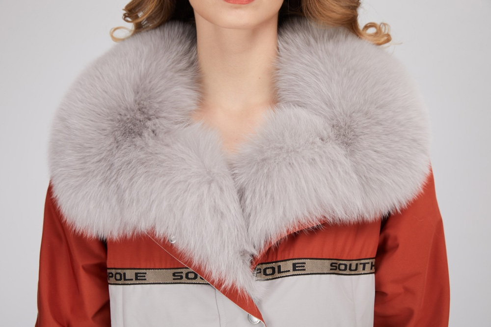 Fox Fur Trim Long Parka with Down-Filled Liner 282-1