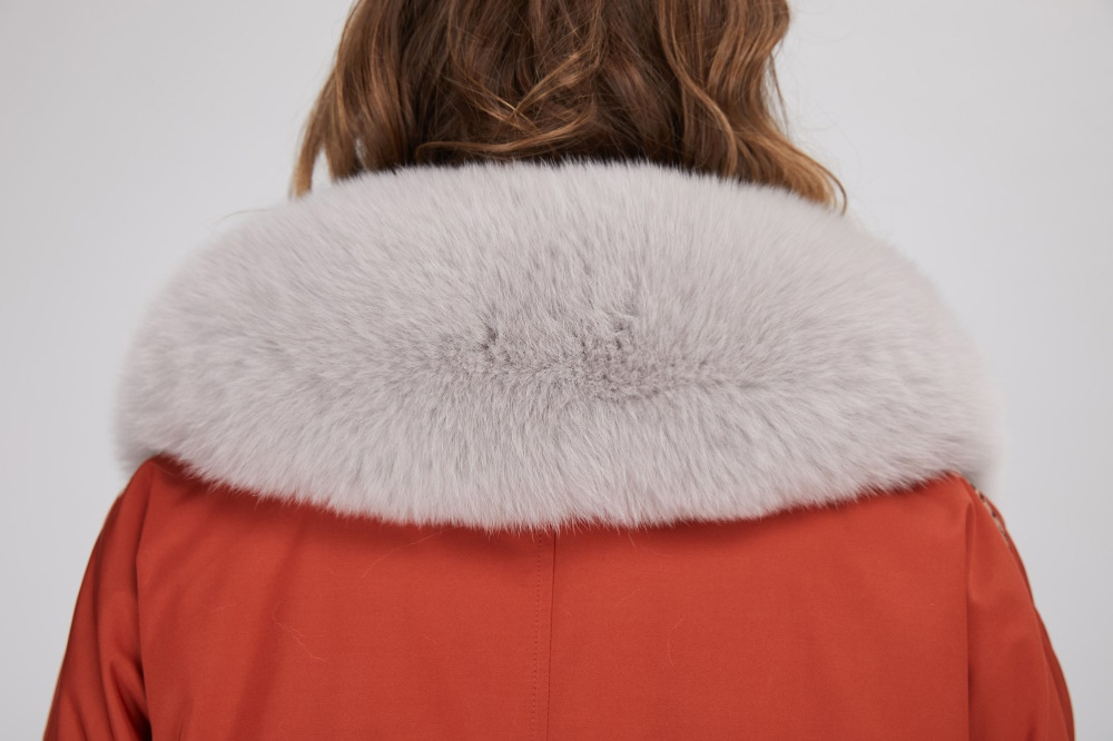 Fox Fur Trim Long Parka with Down-Filled Liner 282-2