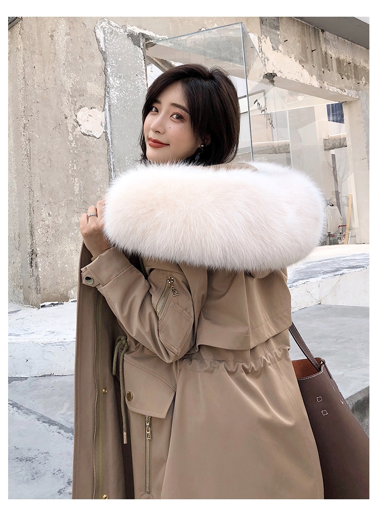 Hooded Fox Fur Trimmed Long Parka with Rex Rabbit Liner 283-1