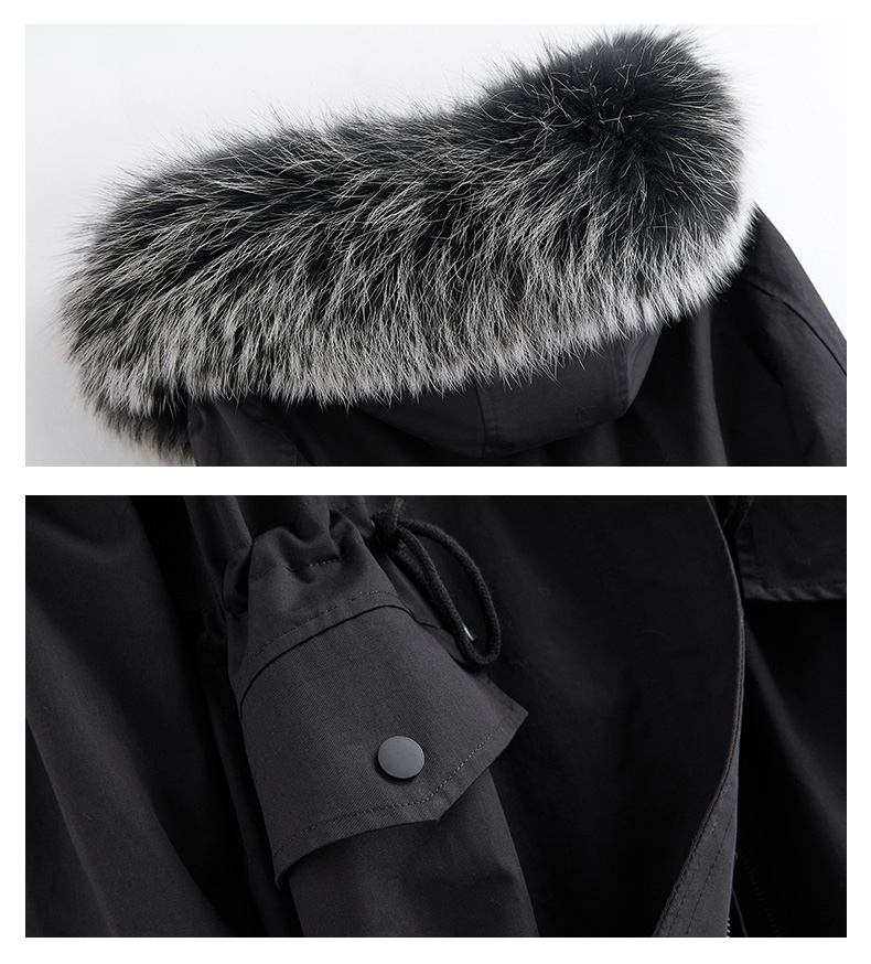 Hooded Fox Fur Trimmed Long Parka with Rex Rabbit Liner 283-11