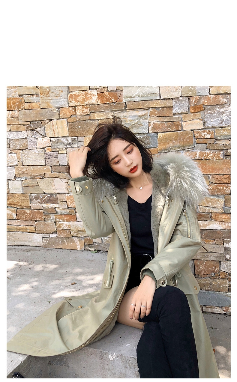 Hooded Fox Fur Trimmed Long Parka with Rex Rabbit Liner 283-13
