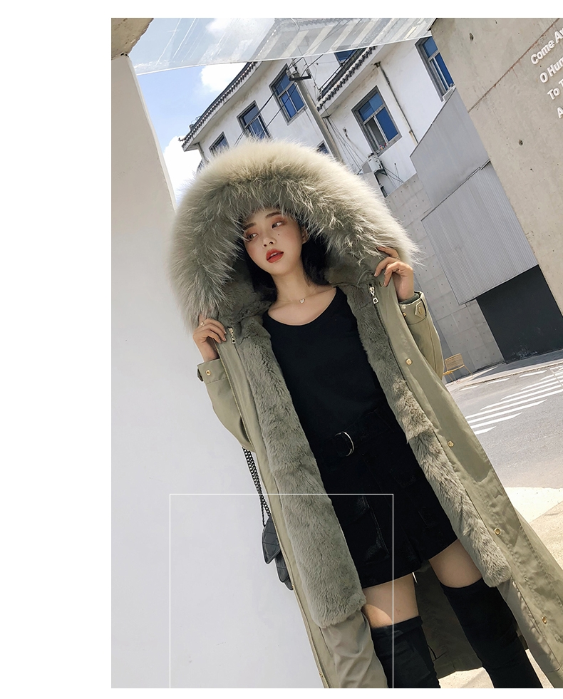 Hooded Fox Fur Trimmed Long Parka with Rex Rabbit Liner 283-14
