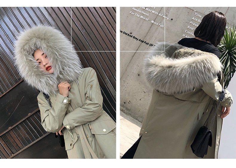 Hooded Fox Fur Trimmed Long Parka with Rex Rabbit Liner 283-15