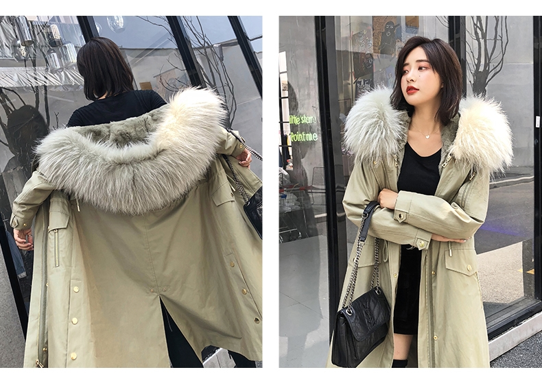 Hooded Fox Fur Trimmed Long Parka with Rex Rabbit Liner 283-16