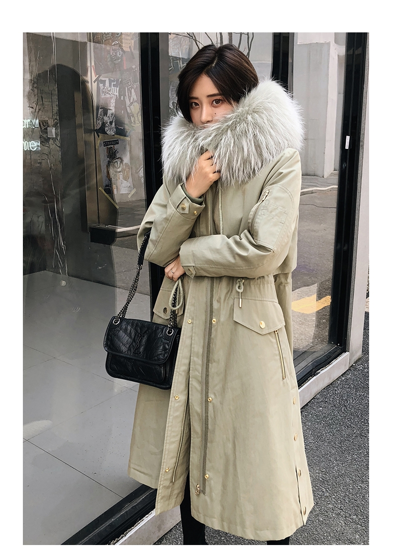 Hooded Fox Fur Trimmed Long Parka with Rex Rabbit Liner 283-17