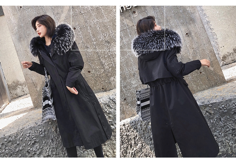 Hooded Fox Fur Trimmed Long Parka with Rex Rabbit Liner 283-8