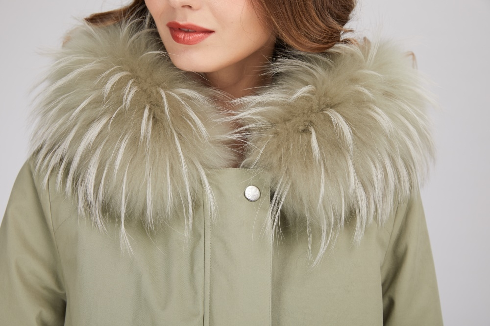 Rex Rabbit Fur Lined Long Parka with Raccoon Fur Trimmed Hood 284-1