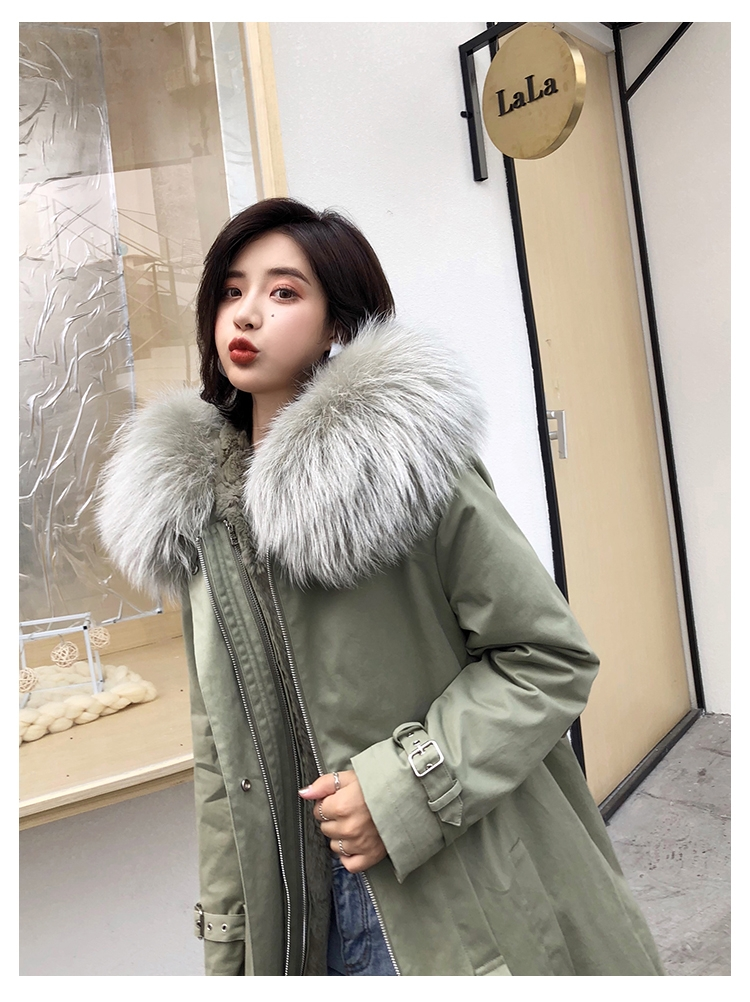 Rex Rabbit Fur Lined Long Parka with Raccoon Fur Trimmed Hood 284-10