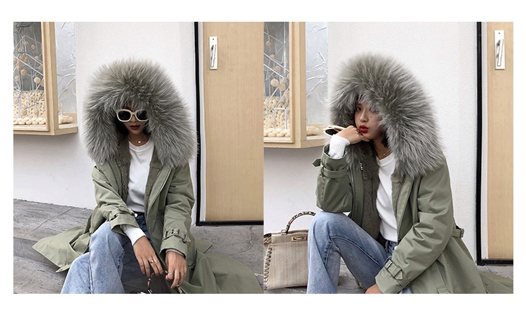 Rex Rabbit Fur Lined Long Parka with Raccoon Fur Trimmed Hood 284-11