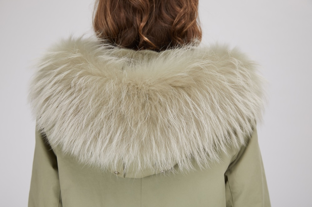 Rex Rabbit Fur Lined Long Parka with Raccoon Fur Trimmed Hood 284-2