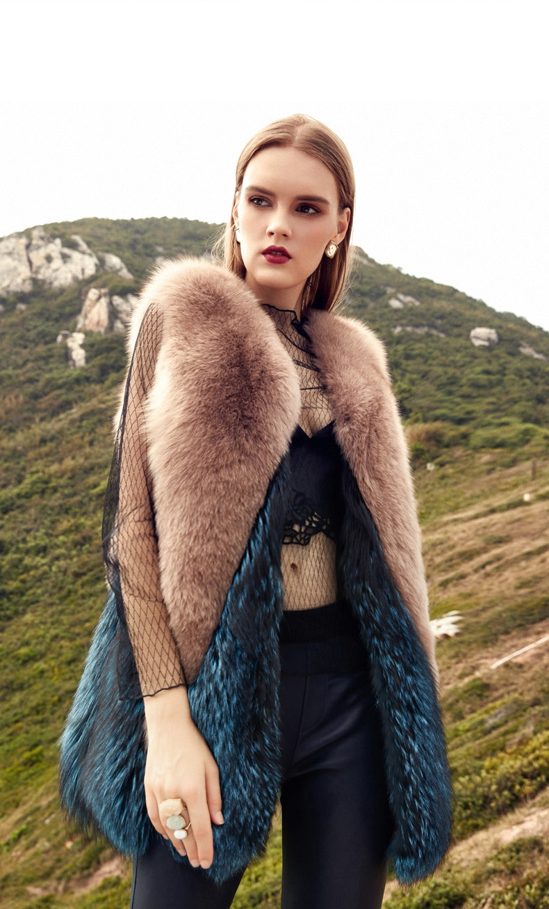 Two-Tone Fox Fur Vest 289-1
