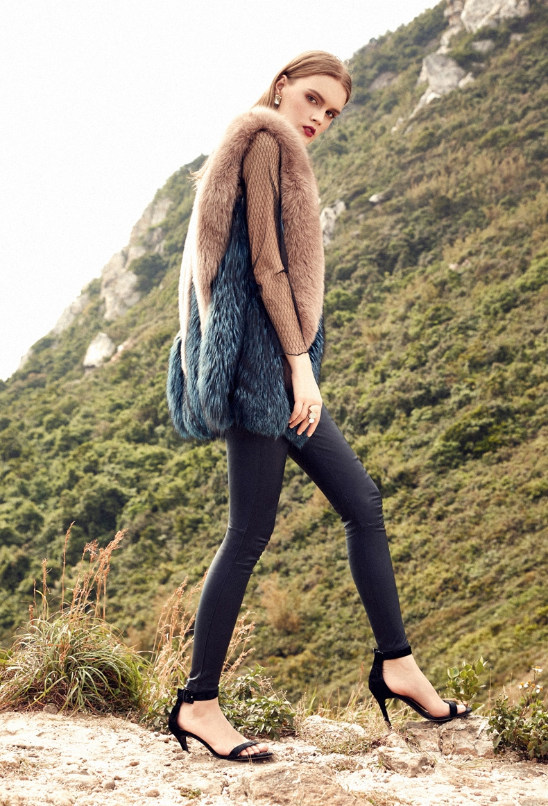 Two-Tone Fox Fur Vest 289-6