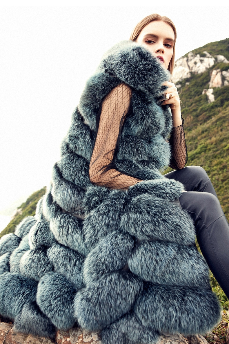 Hooded Long Fox Fur Vest 294-8