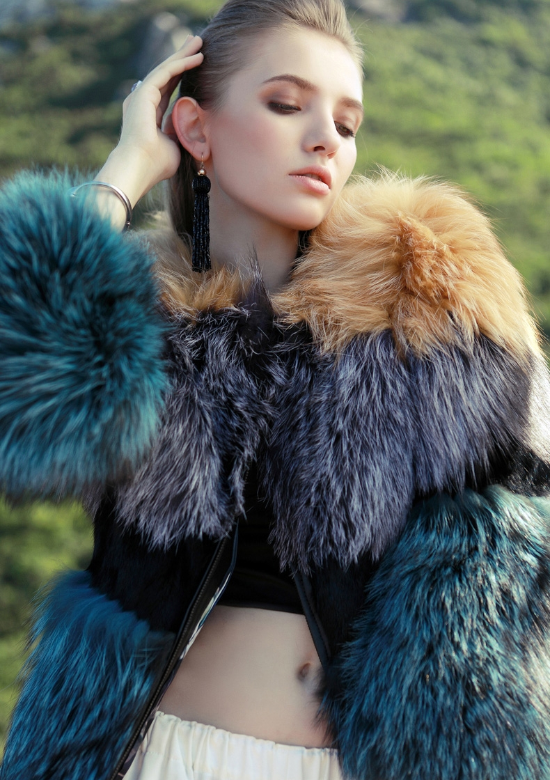 Layered Multicolor Fox Fur Jacket 295-2