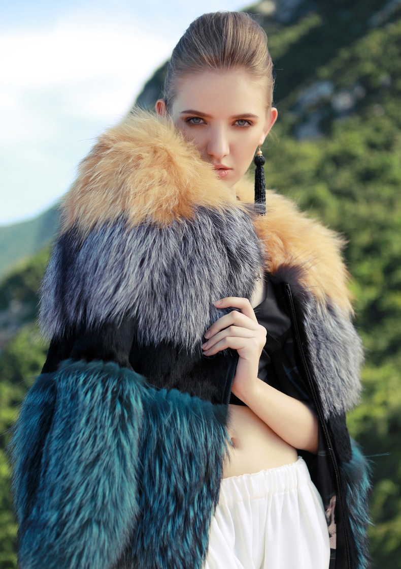 Layered Multicolor Fox Fur Jacket 295-3
