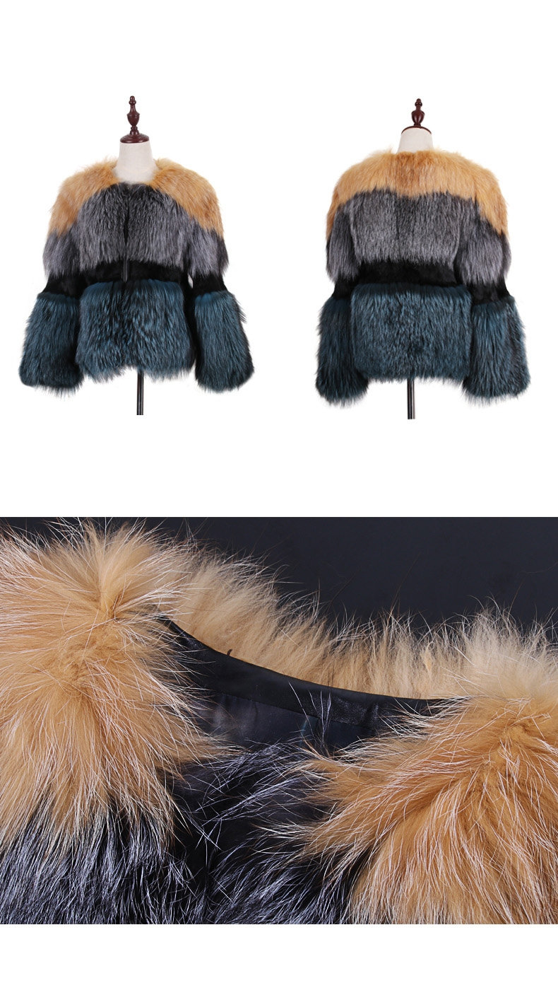 Layered Multicolor Fox Fur Jacket 295-4