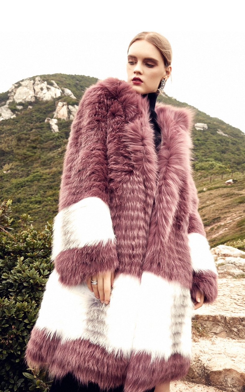 3-4 Length Hooded Fox Fur Coat 297-2