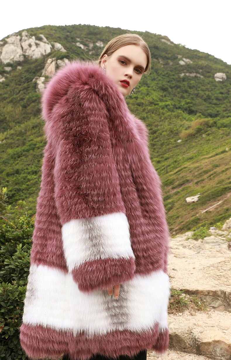 3-4 Length Hooded Fox Fur Coat 297-4