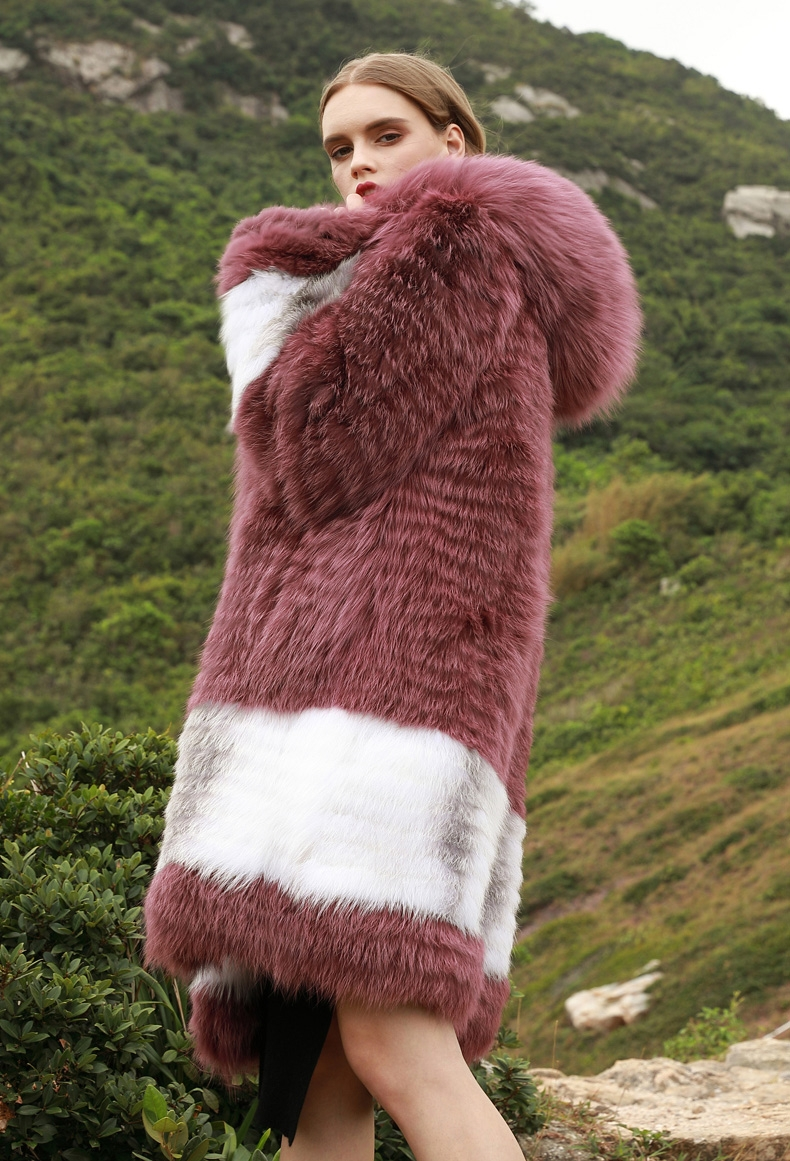 3-4 Length Hooded Fox Fur Coat 297-5
