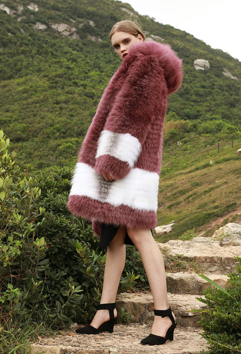 3-4 Length Hooded Fox Fur Coat 297-7