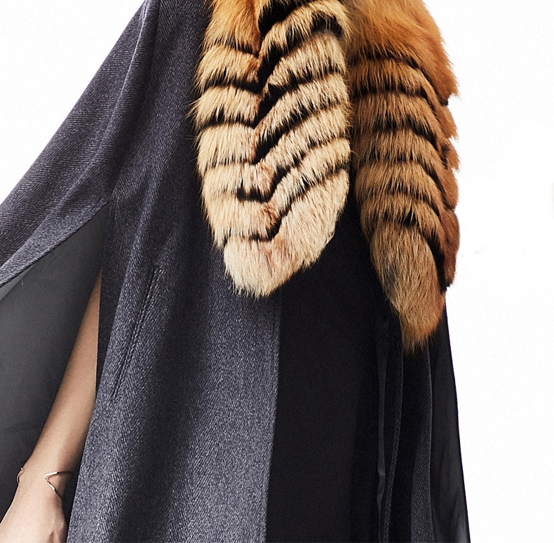 Cashmere Cape with Golden Island Fox Fur Collar 299-2