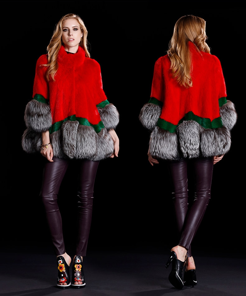 A-shaped Mink Fur Cape Style Jacket with Silver Fox Fur Trim 300-2
