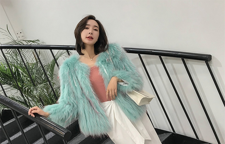 Knitted Raccoon Fur Cropped Jacket 312-2