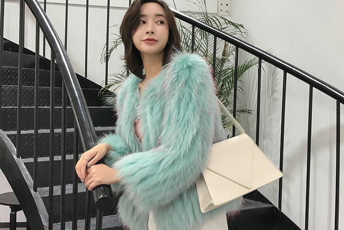 Knitted Raccoon Fur Cropped Jacket 312-3