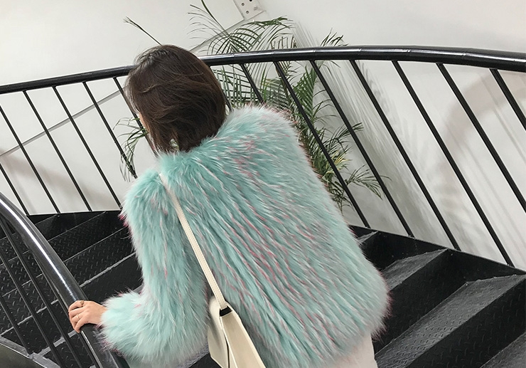 Knitted Raccoon Fur Cropped Jacket 312-4