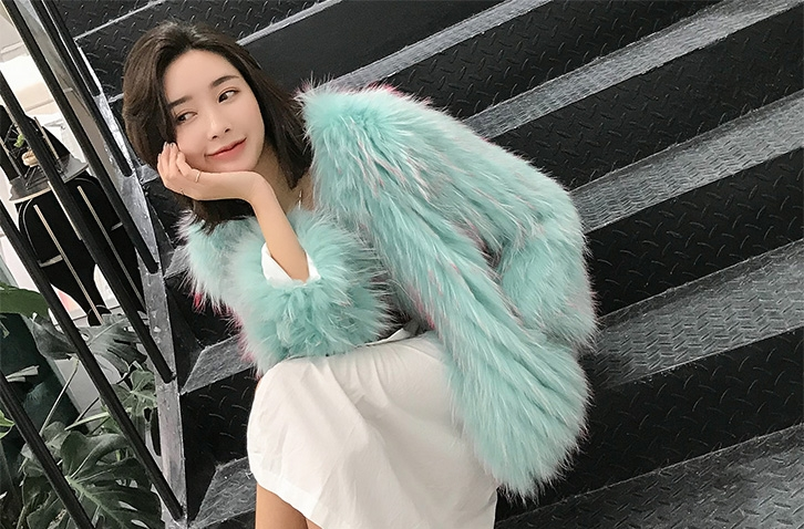 Knitted Raccoon Fur Cropped Jacket 312-5