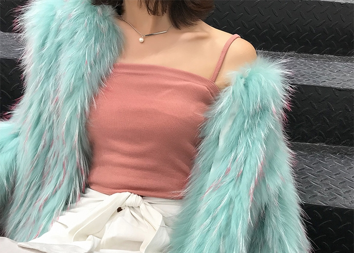Knitted Raccoon Fur Cropped Jacket 312-7
