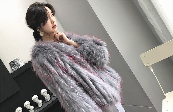 Knitted Raccoon Fur Cropped Jacket 312-8