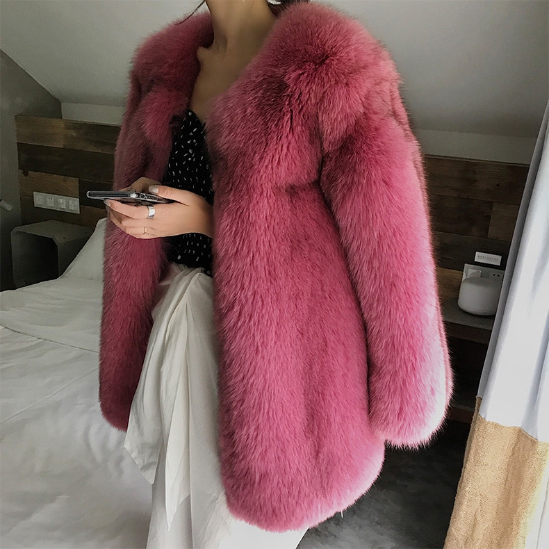 Fox Fur Coat-Hot Pink 320-6
