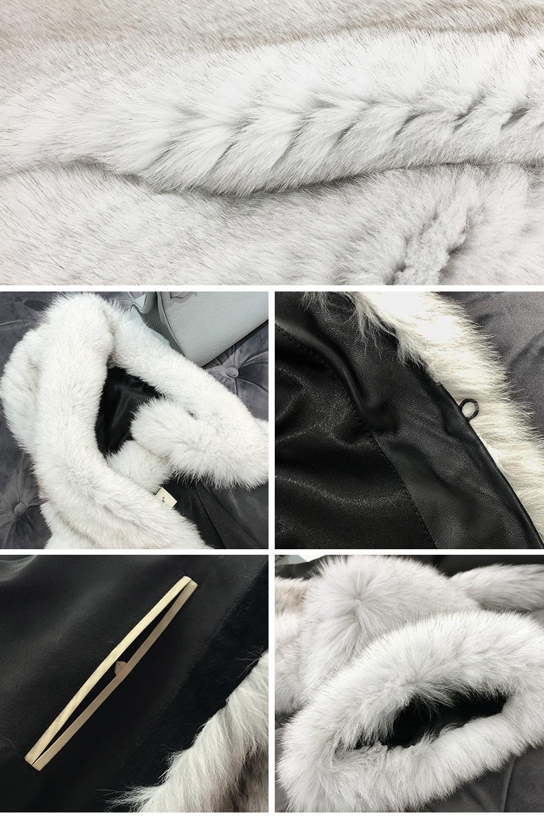Hooded Fox Fur Long Coat 322-2