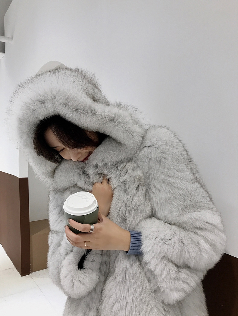 Hooded Fox Fur Long Coat 322-4