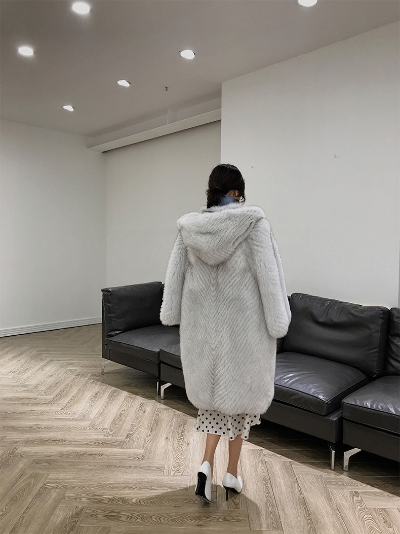 Hooded Fox Fur Long Coat 322-7