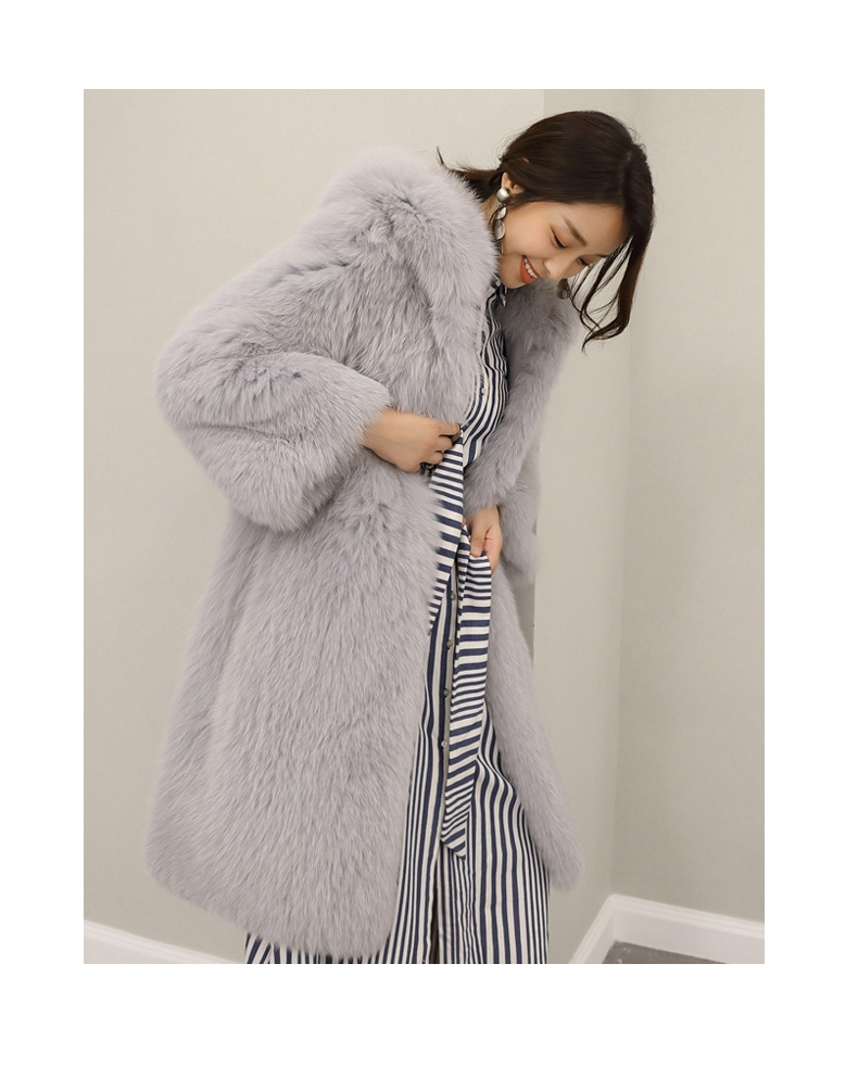 Hooded Fox Fur Long Coat 323-1